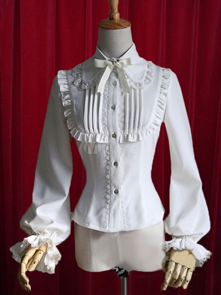 b4bd5eaf44eb0 White Lolita Blouse Bow Ruched Cotton Blouse for Women