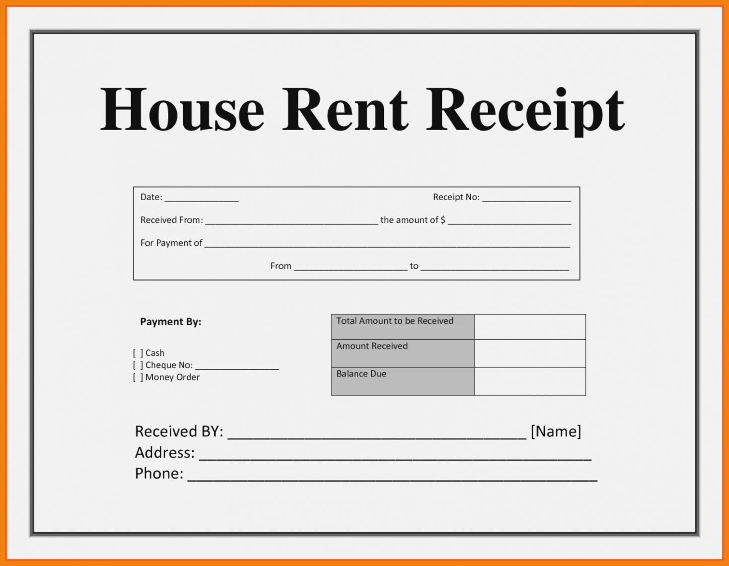 Explore Our Printable House Rent Receipt Template Receipt Template Receipt Templates