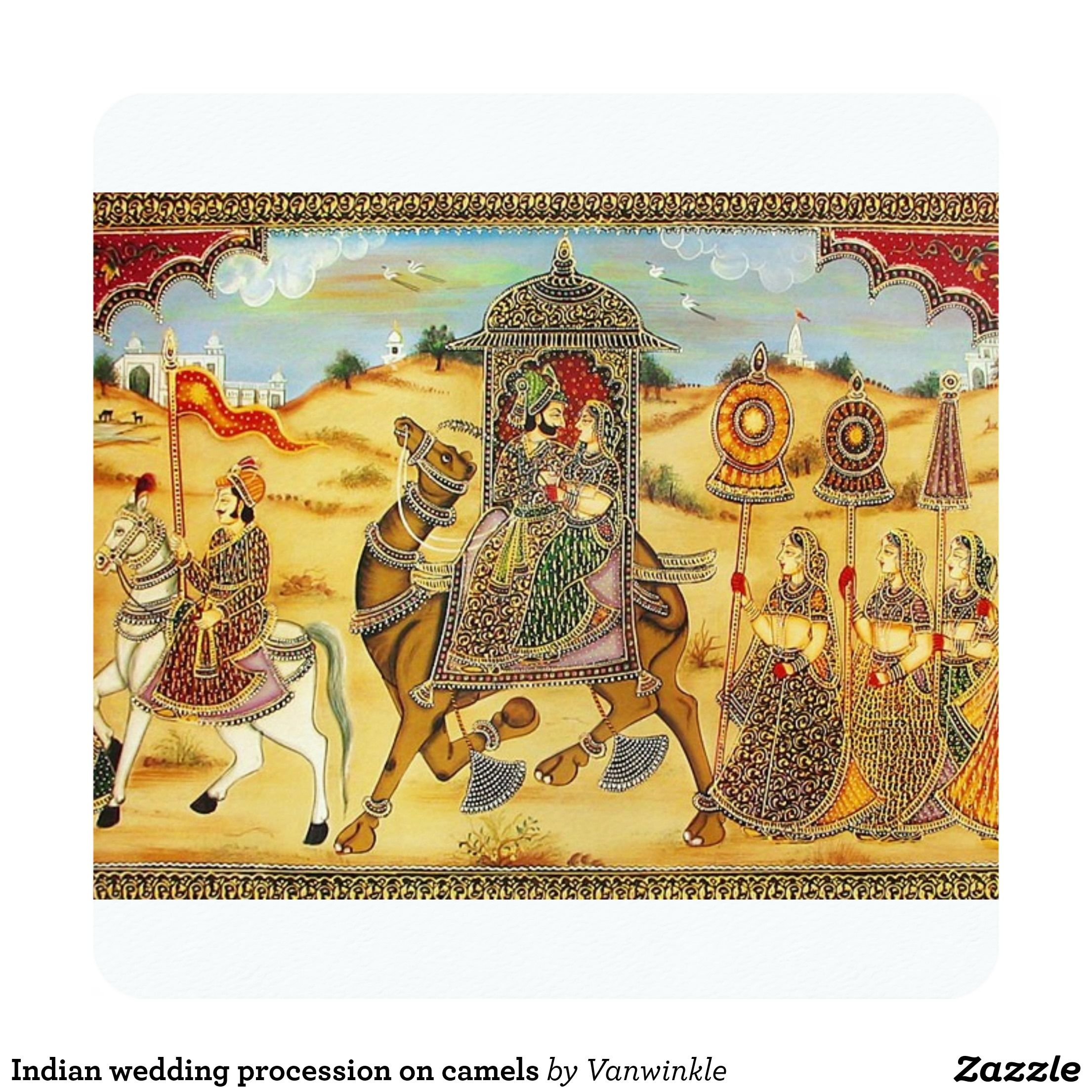 Indian wedding procession on camels card camels and wedding indian wedding procession on camels card junglespirit Images