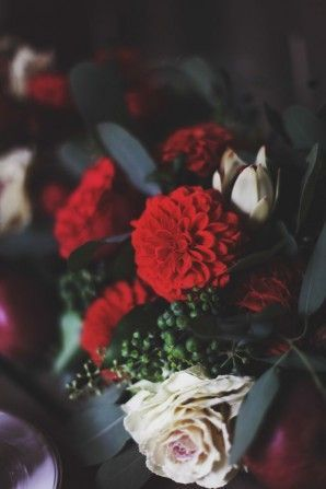 red dahlias and blush roses
