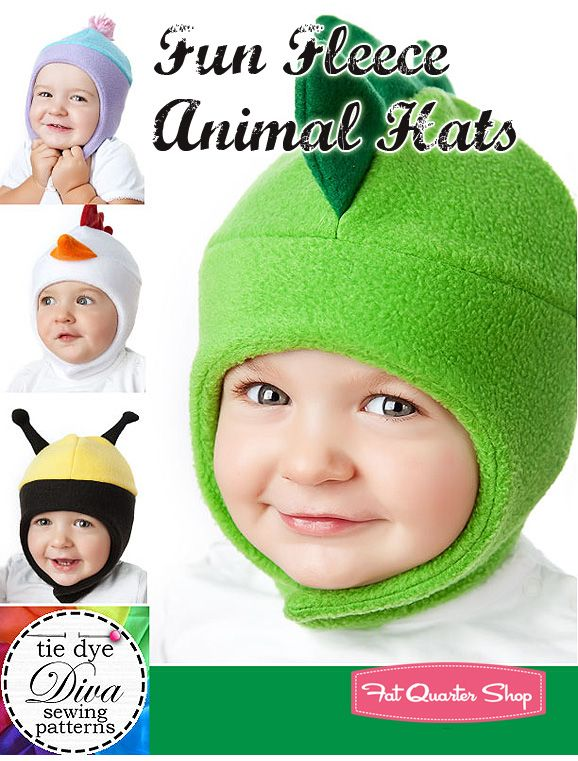 9cd1d345e4a Fun Fleece Animal Hats Downloadable PDF Pattern Tie Dye Diva Patterns - Fat  Quarter Shop