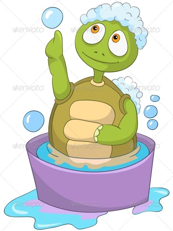 Pic On Baby Washing by RAStudio on GraphicRiver Cartoon Character Funny Turtle Isolated on White Background