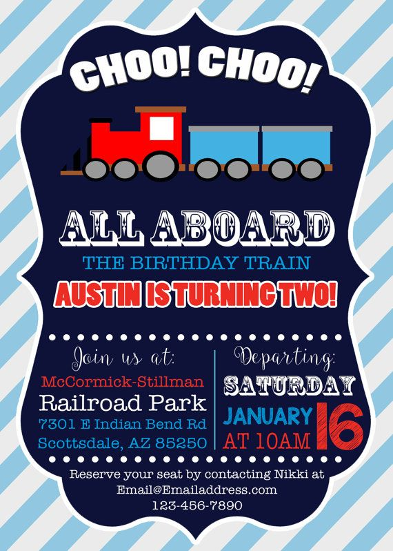 Train Invitation Birthday Party 2 Year Old 2nd Parties
