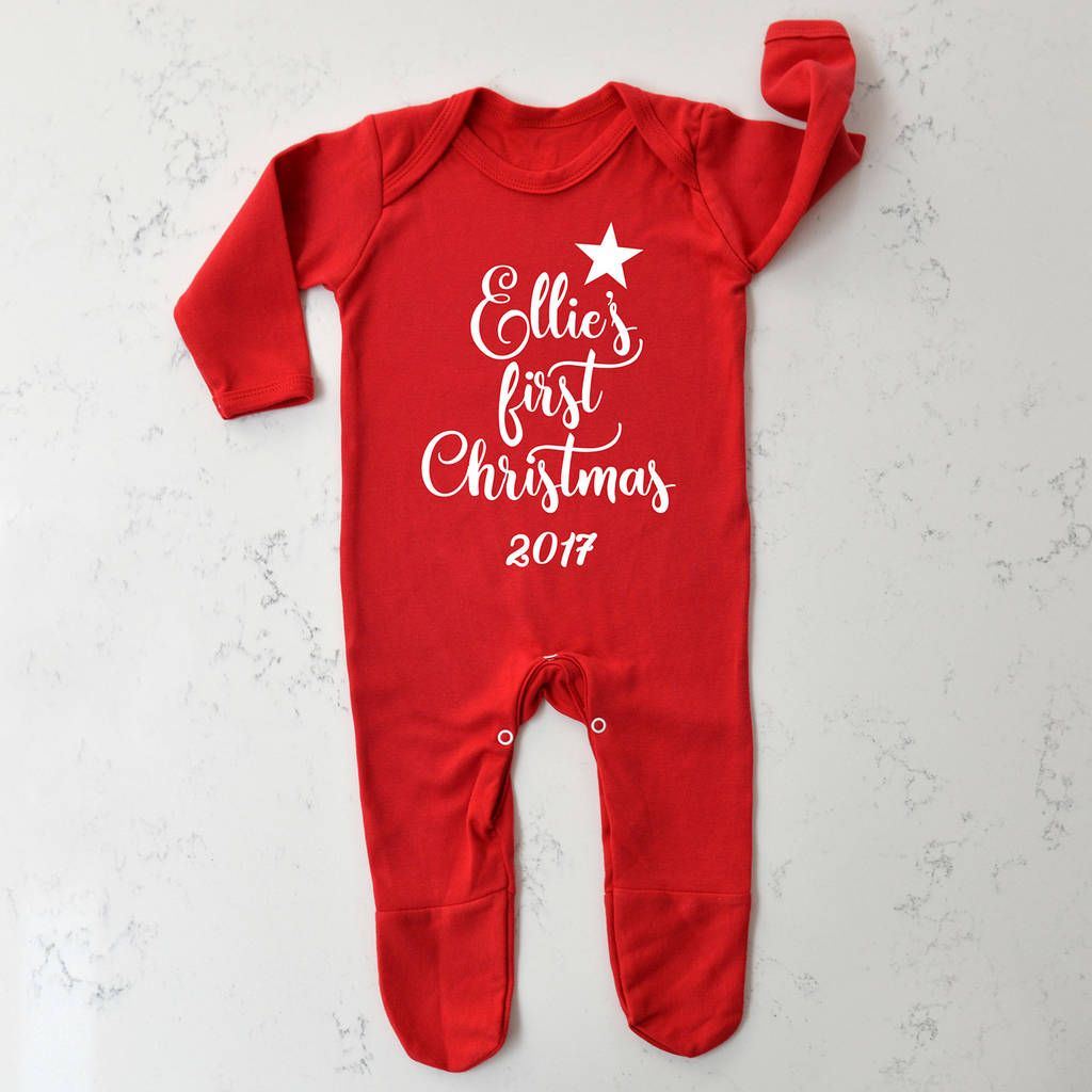 Personalised Your Text Baby Grow,Outfit,Sleepsuit Christmas Birthday Unique Gift