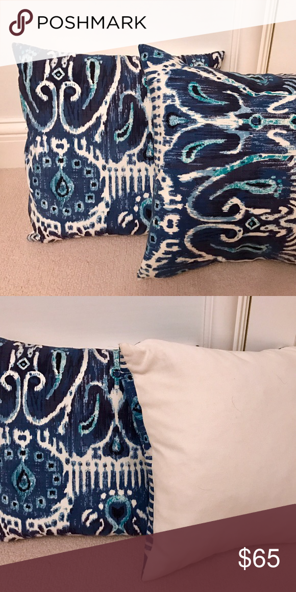 Blue Ikat Pillow (Set of 2) Ikat print, feathered down Other