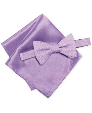 5d22f57b5b66 Alfani Men's Ludlow Geometric Bow Tie & Pocket Square Set, Only at Macy's -  Purple