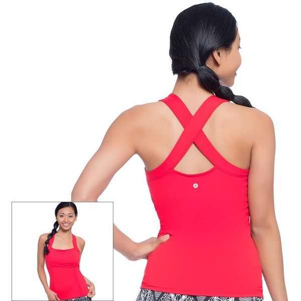 Women's Soybu Alecia Racerback Yoga Tank ($39) ❤ liked on Polyvore featuring activewear, activewear tops, med pink, yoga activewear, balcony bra, balconette bra, shelf bra and soybu