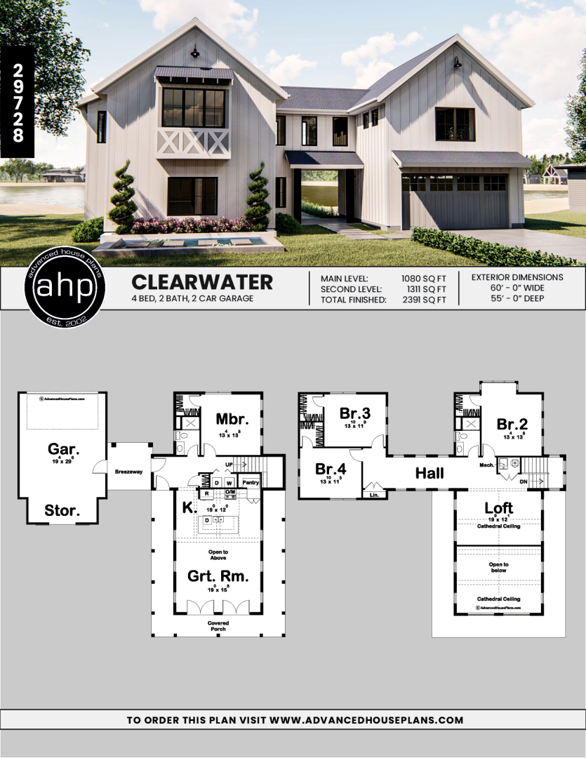 1 5 Story Modern Farmhouse Style House Plan Clearwater Clearwater Farmhouse In 2020 Farmhouse Style House Plans Farmhouse Style House Barn House Plans