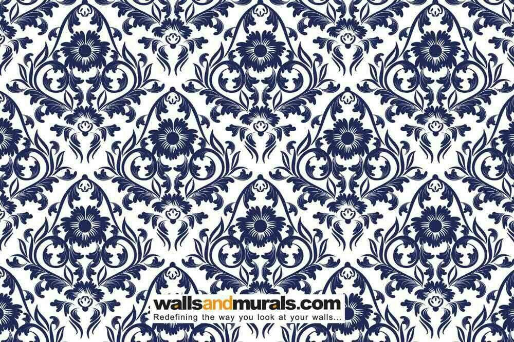 Dark blue and regal damask wallpaper pattern Modern