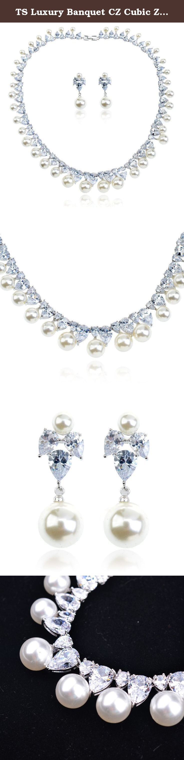 TS Luxury Banquet CZ Cubic Zirconia Cultured Pearl Jewelry Set Necklace Earrings Jewelry Wedding Set. Welcome to Ts TS is a professional store on Amazon specialized in Jewelry,Accessories,Leggings and etc. TS strive to provide you the Top quality with reasonable price. What makes you beautiful? Your self confidence & TS What makes gift perfect? Your cares & TS TS Accessory Looking for a versatile accessory? It's hard to beat our high quality zircon choker necklaces! 100% brand new with…