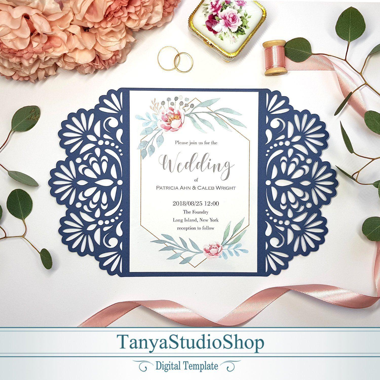 Gate-fold 5x7'' invitation template SVG ai CRD | Etsy | Invitation template,  Cricut wedding invitations, Invitations