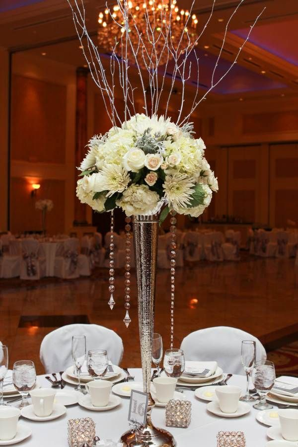 Winter Wedding Centerpiece On Tall Silver Vase With Silver Birch Branches A Garden Party