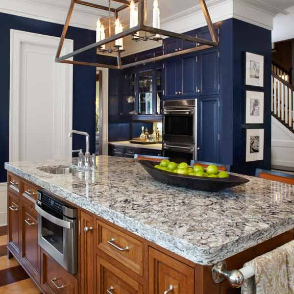 All about quartz countertops countertops blue kitchen for Navy blue granite countertops