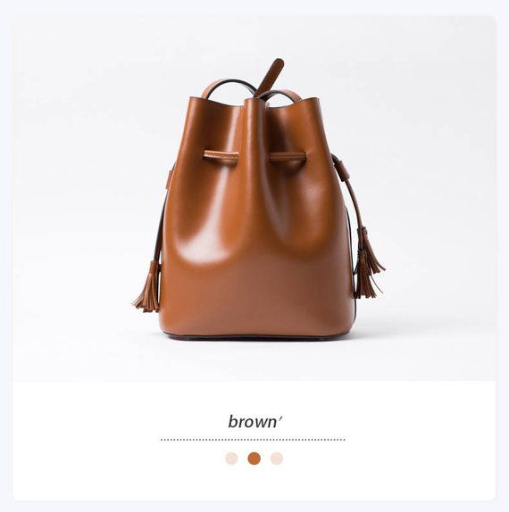 Small Bucket Bag Leather Purse Brown Designer