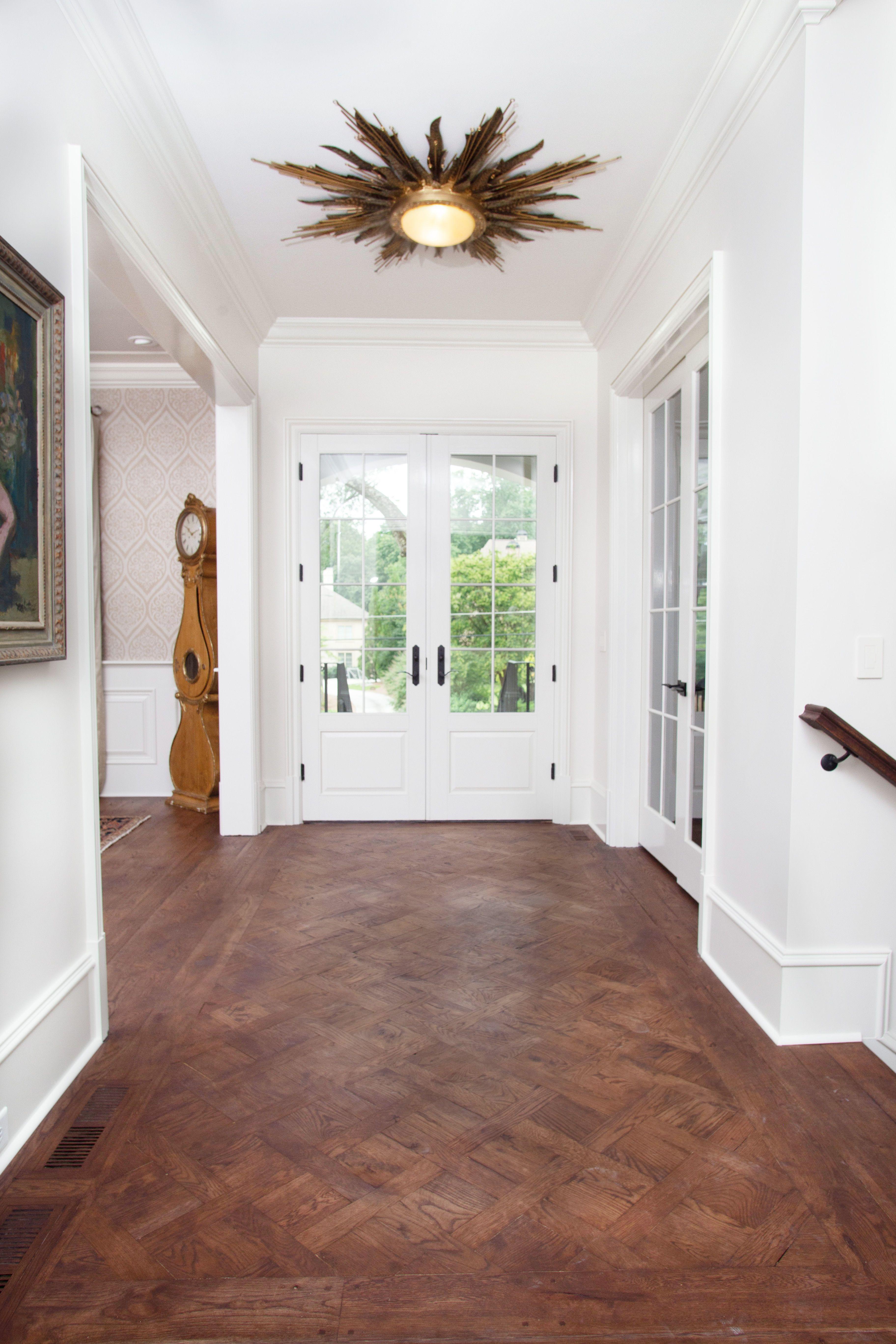 Custom handscraped white oak wood floor in Versailles ...