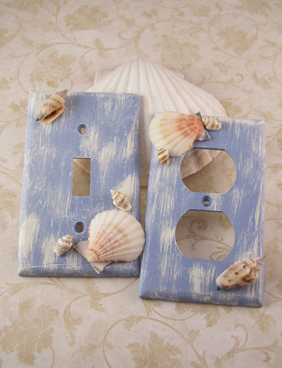 Seashell And Seaglass Encrusted Single Light Switch Plate Cover - Bathroom dimmer light switch