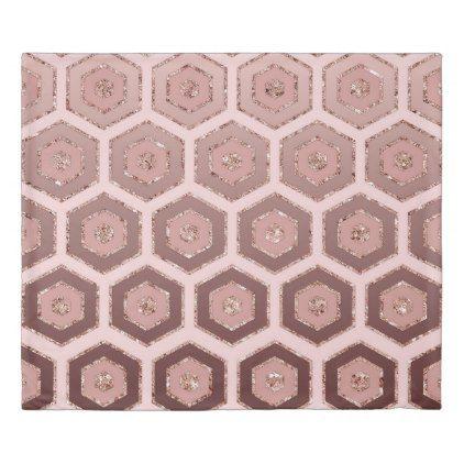 Modern Chic Pink Rose Gold Hexagon Geometric Duvet Cover Zazzle Com Geometric Duvet Cover Geometric Duvet Chic Pink