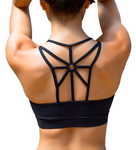 c18fe48a238d4 YIANNA Womens WorkOut Light Support Strappy Padded Bras Running Yoga Sports  Bra CrossBack Soft Wireless Tank Top with Removable CupsYABRA139BlackM    You can ...