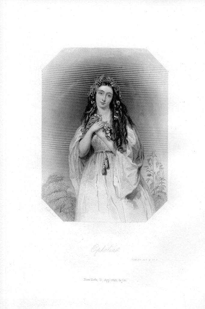 Ophelia Hamlet Shakespeare Woman 1800s Antique Art Print Engraving