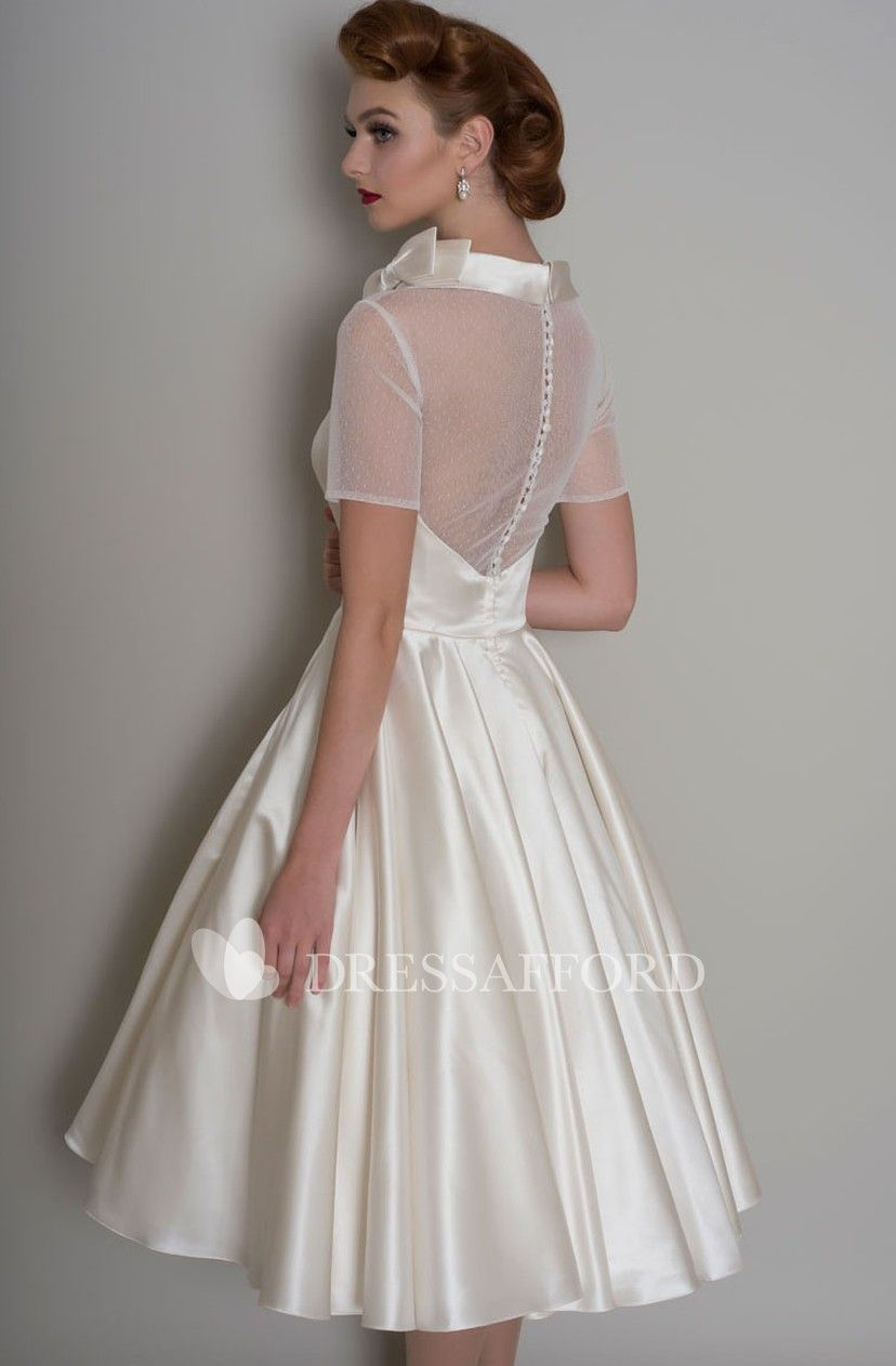 fc8fb2b4d92 Short Sleeve Illusion Satin A-line Wedding Dress - Dress Afford