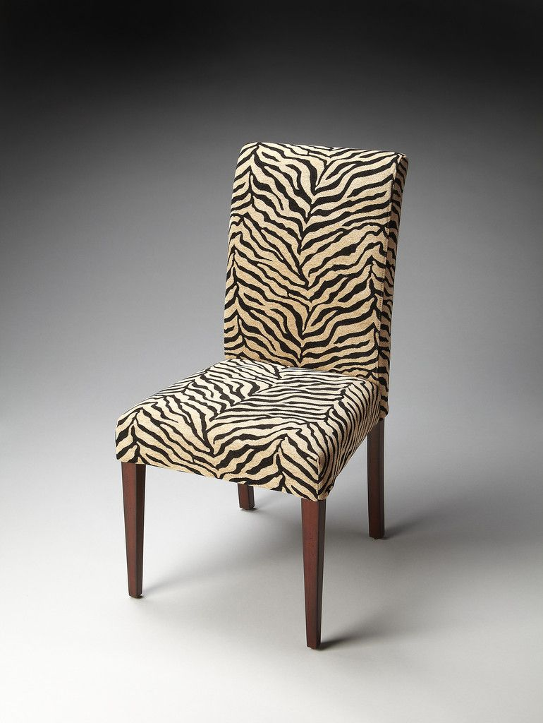 Parsons chair zebra print fabric dining room contemporary
