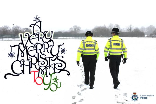 Leicestershire Police would like to wish you a Merry Christmas (notice they've got their backs turned...probably taking their cue from Matt Bagehot (sic) who told Fiona Pilkington to 'close her curtains' when local cretins repeatedly targeted her & Frankie her disabled daughter in Barwell. Fiona - unable to get help eventually killed herself & Frankie...no wonder Mr B is making such a success of his new role as Chief Constable in Northern Ireland.)