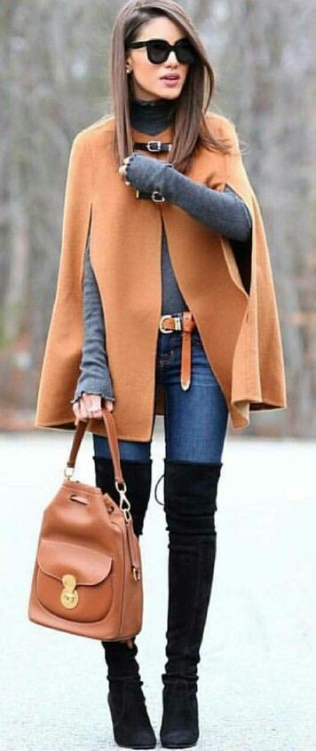 fall fashion trends / brown poncho + bag + top + jeans + over knee boots