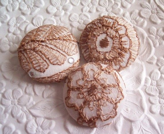 3 fabric covered buttons ivory/brown ♡ by EmbellishedLife2 on Etsy