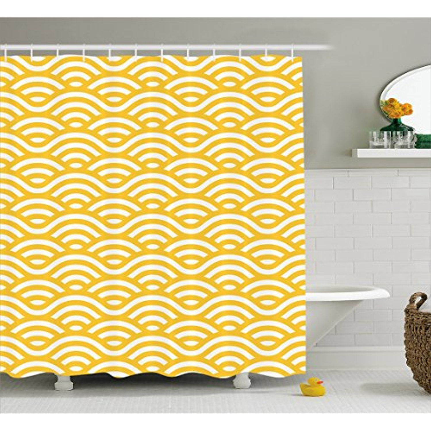 Yellow and White Shower Curtain by Ambesonne Horizontal Abstract