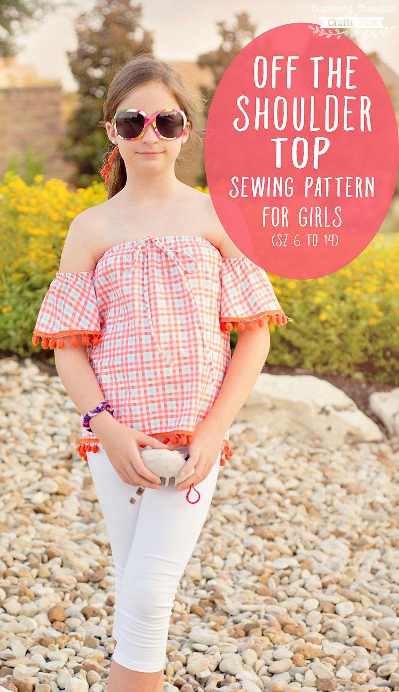 Off the Shoulder Flutter Sleeve Top for Girls (sz 6 to 14