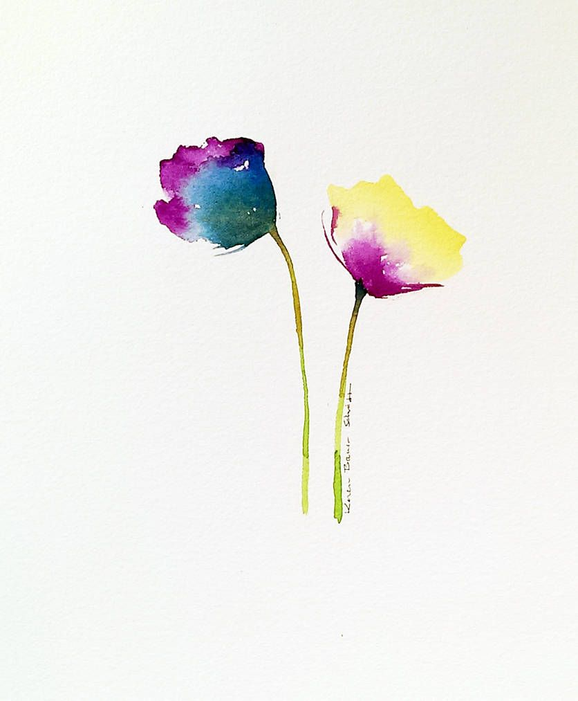 Purple Yellow Poppies Painting Original Watercolor 8x10 Abstract