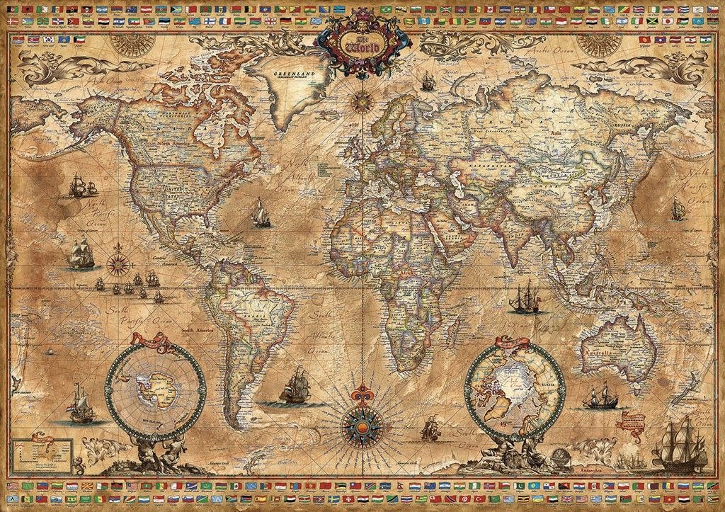 Antique world map 1000pc jigsaw puzzle by educa educa jigsaw puzzles antique world map gumiabroncs Gallery
