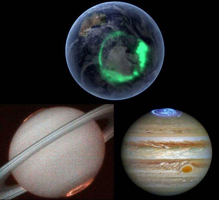 يظهر في الصورة الشفق القطبي لثلاث كواكب مختلفة وهي الأرض والمشترى وزحل تحدث في المناطق القريبة من القطب الشمالي والجنوبي نتيجة للرياح الشمسية Easter Eggs Eggs