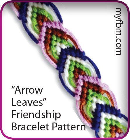 Friendship Bracelet Pattern Arrow Leaves Design Written Instructions