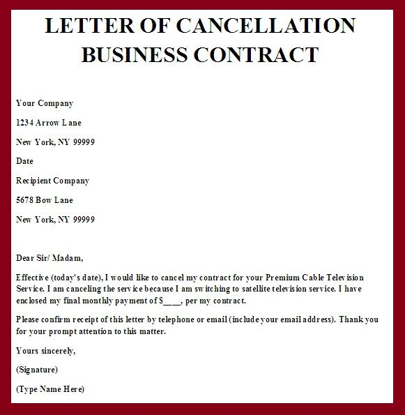 Printable Sample Contract Termination Letter Form