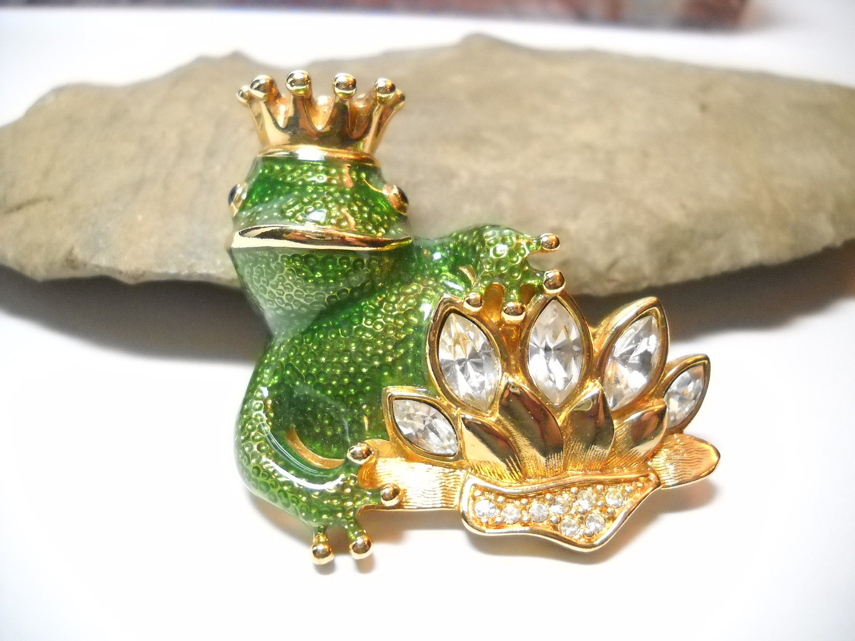 Vintage Swarovski Frog Prince Brooch Enamel Rhinestone Brooch Frog w Crowns Prince Charming Vintage 1980s Boho #vintagerhinestone