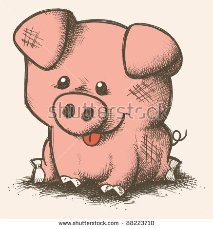 cute pig drawings cartoon pig hand drawn stock photo 88223710 shutterstock