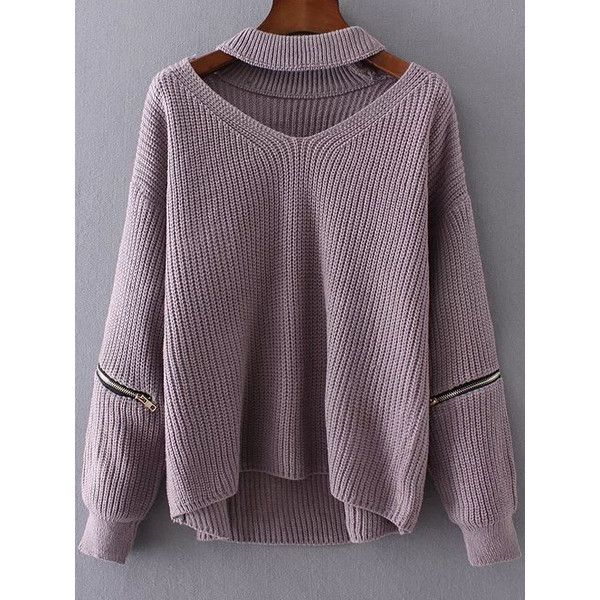 SheIn(sheinside) Purple Choker V Neck Zipper Detail Sweater ($28) ❤ liked on Polyvore featuring tops, sweaters, embellished sweaters, zip pullover, v neck sweater, purple v neck sweater and long sleeve sweater