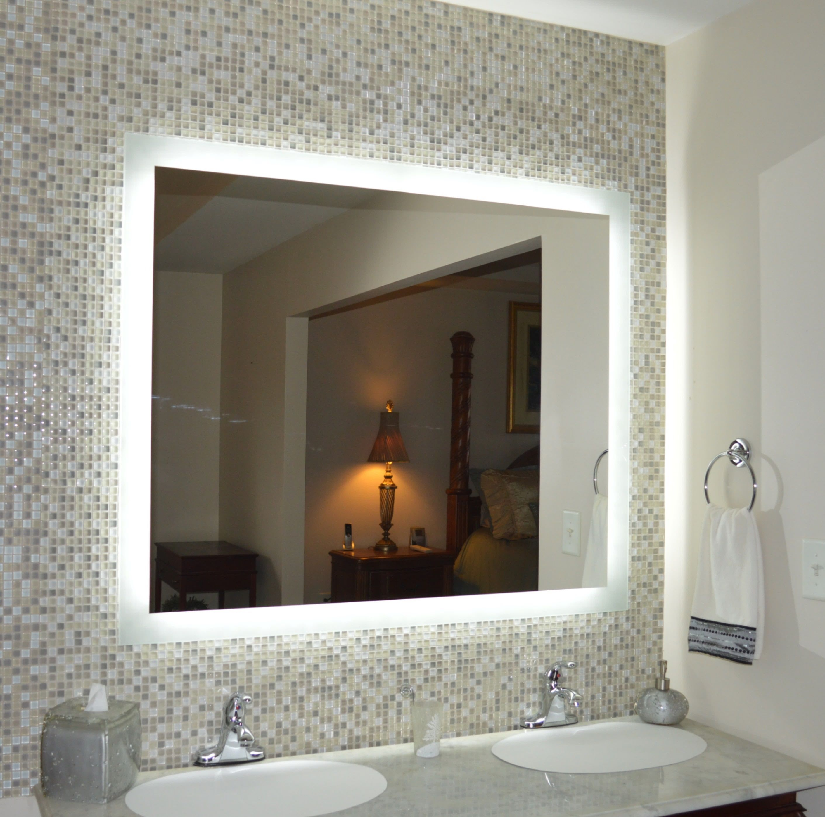 Side Lighted Led Bathroom Vanity Mirror 48 Wide X 40 Tall