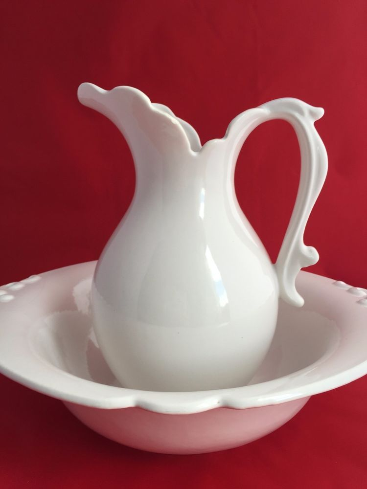 Haeger Usa Pottery Cream Pitcher And Bowl Set Cottage Chic Bowl Set Cottage Chic White Pitcher