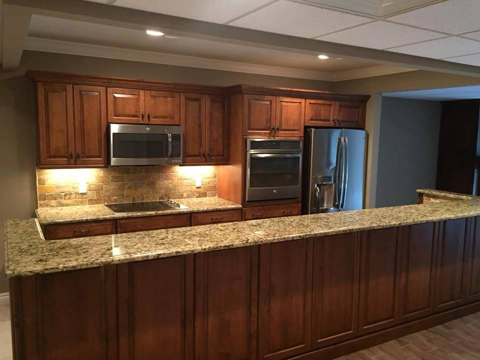 An Amazing Basement Kitchen Renovated With LaFata Cabinets! The Combination  Of Warm Color Cabinets And