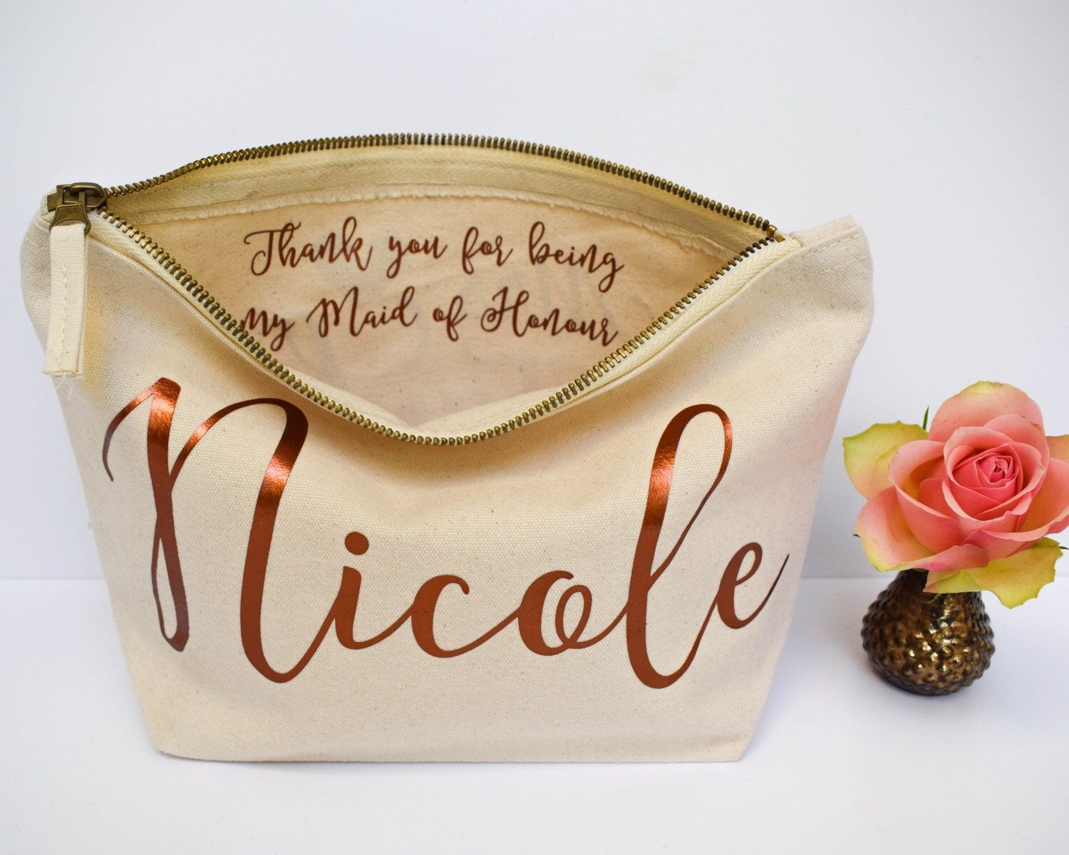 Wedding Thank You Gift Personalised Bridesmaid Make Up Bag Maid Of Honour Unique For Bridal Party Makeup Cosmetic Bags