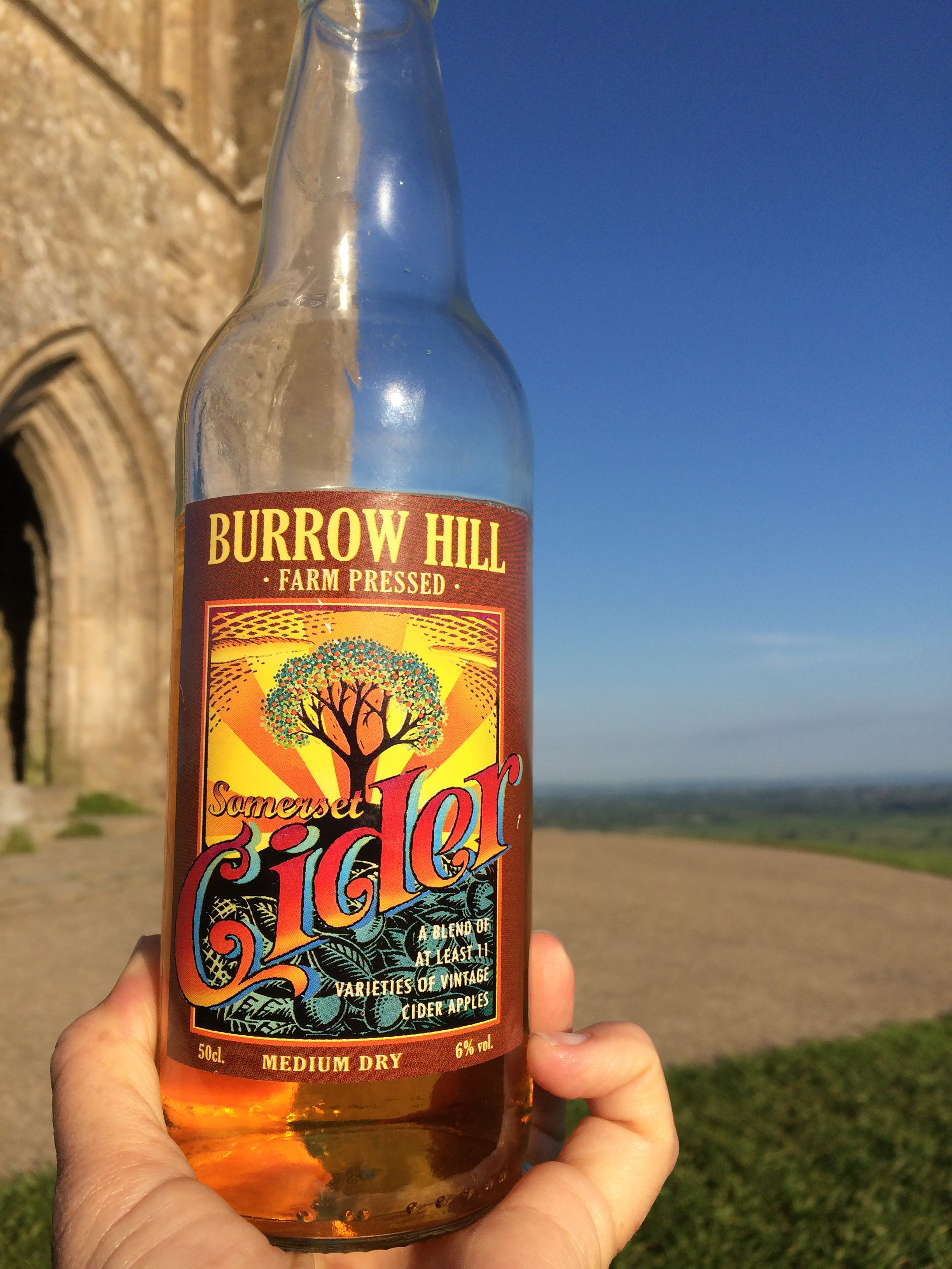 Burrow Hill Somerset Cider at the top of Glastonbury Tor