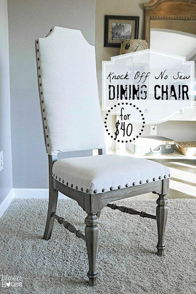 How To Reupholster A Dining Room Chair Seat And Back Endearing Diy No Sew Knock Off French Dining Chairs  Hometalk  Diy 2018