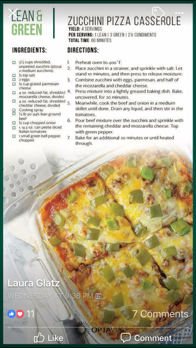 Zucchini Pizza Casserole What Will They Come Up With Next Why Not Have An Interesting Dinner On A Normal Lean And Green Meals Greens Recipe Medifast Recipes