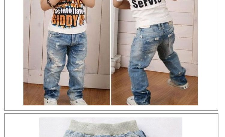 hot sale children's kids boys fashion washed Distressed holes ...