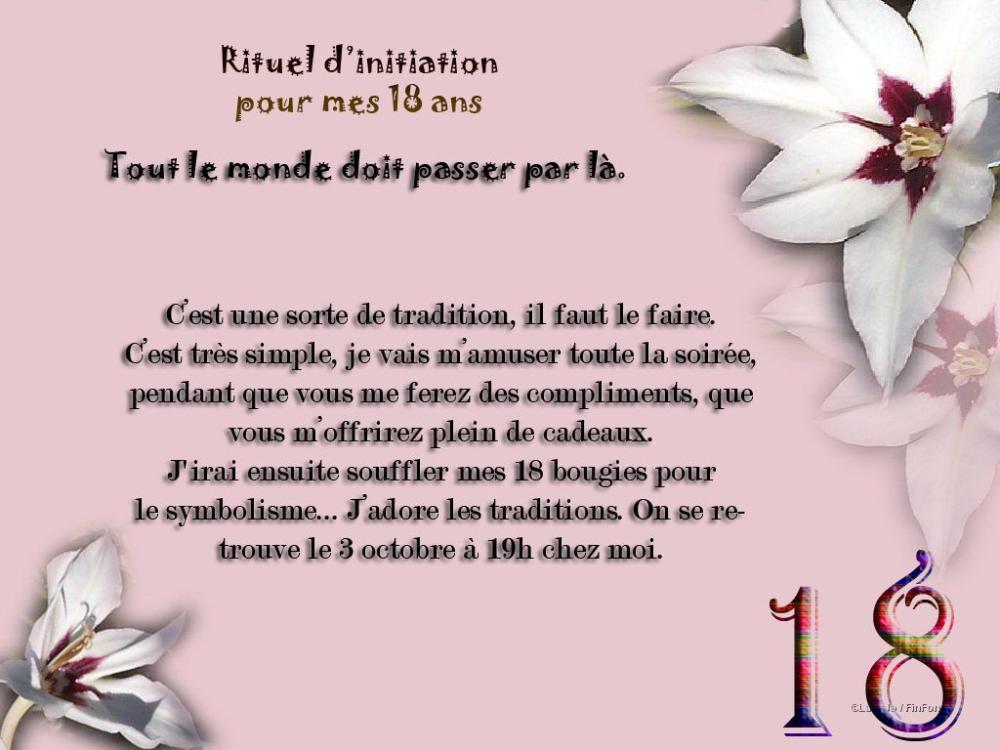 texte invitation anniversaire 18
