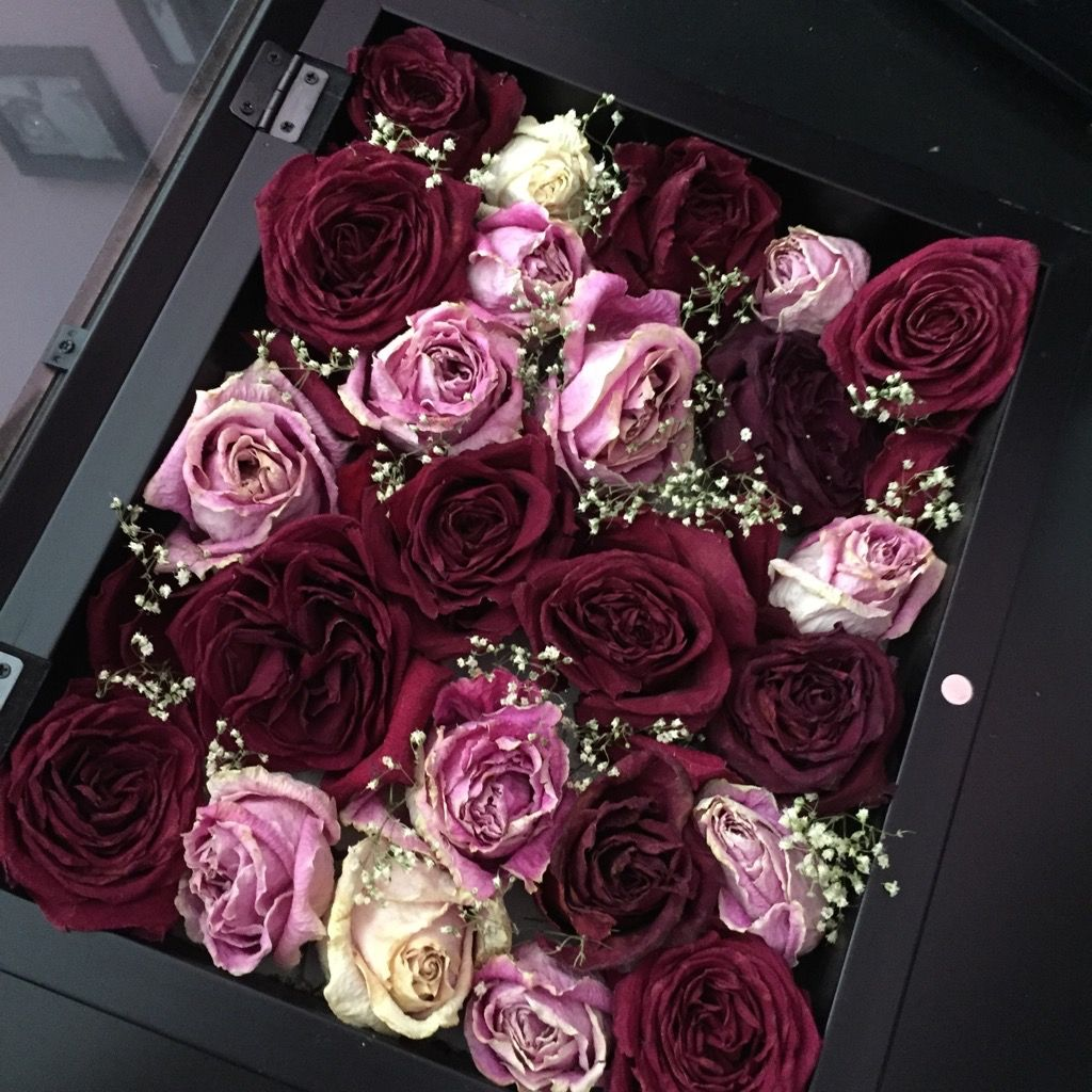 Preserve wedding bouquet in shadow box with date in front ...