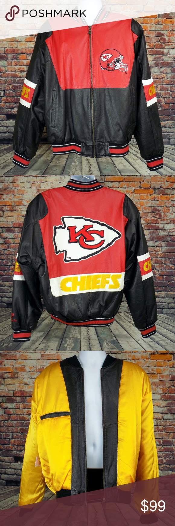 81068f16 Kansas City Chiefs Leather Jacket G-III Men's XL Kansas City Chiefs ...
