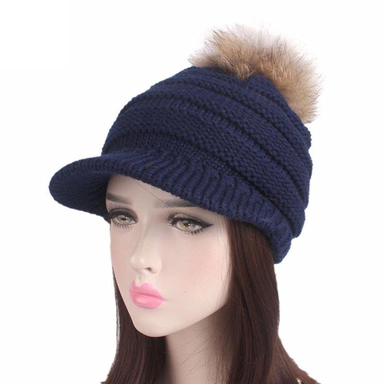 Brim Hat Beanie Hat - Women Ladies Winter Knitting Hat Berets Turban Brim Hat  Cap Pile Cap - Navy - C41889ERO4Q - Hats   Caps dbb2b09cc30